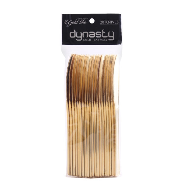 Gold-Like Dynasty Collection Gold Plastic Knives - 20 pc - Item #2200, gold-like disposable knives, gold plastic wedding flatware, disposable gold cutlery