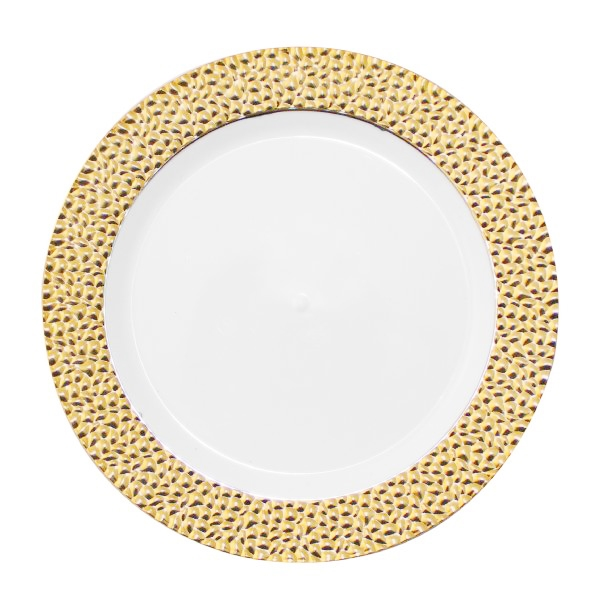 "Gold-Touch Golden Hammered Collection 10"" Plates, Discount Fancy Dinner Party Plates with Hammered Effect Design, gold hammered collection plastic plates"
