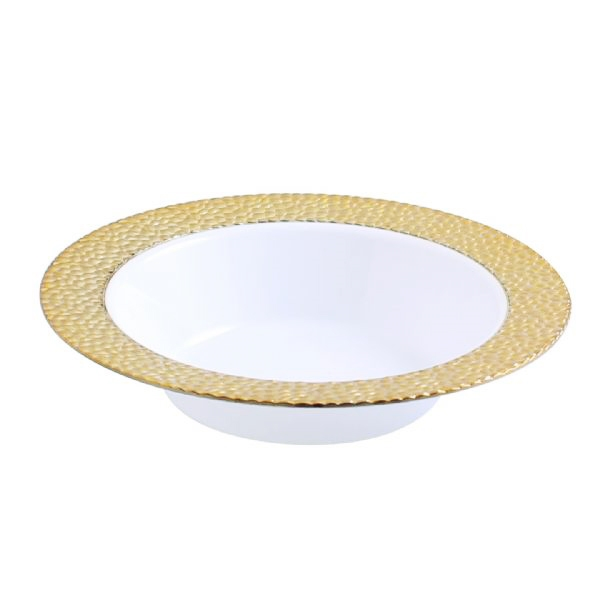 Gold-Touch Golden Hammered Collection 12oz bowls, Discount Fancy Dinner Party Plates with Hammered Effect Design, gold hammered collection plastic plates