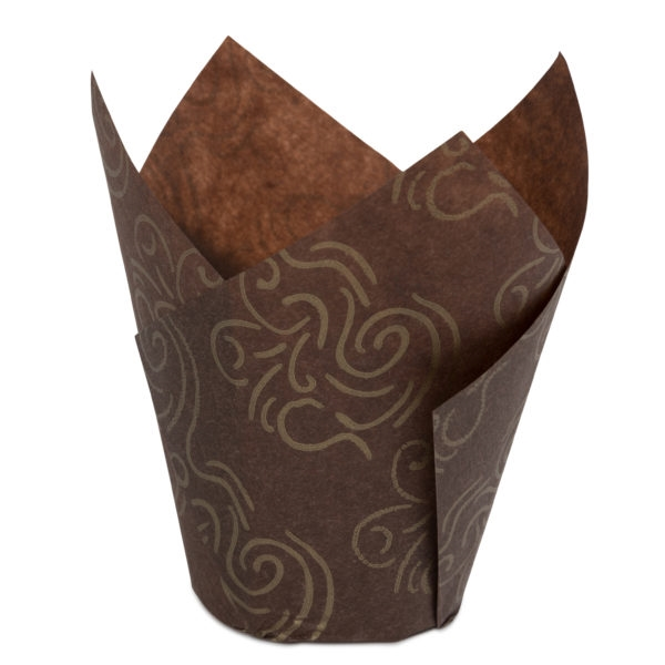 Tulip Baking Cups Brown w/ Gold Design 24 ct