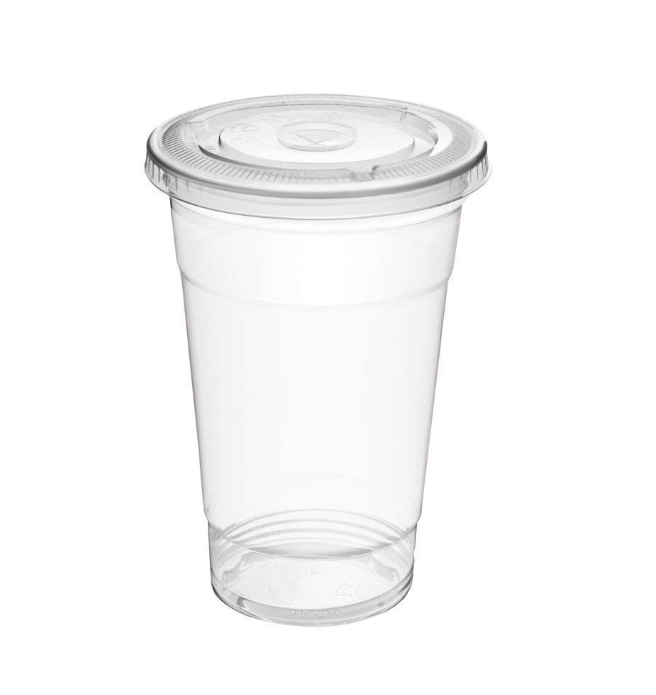 Clear Disposable Beverage Cups with Lids - 100 count, Crystal Clear Plastic Cups with Flat Lids, Disposable Beverage cups with lids, iced coffee cups
