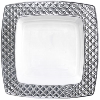 Decor Diamond Collection White/Silver Clear/Silver Dinner plates - Choose Plate Size