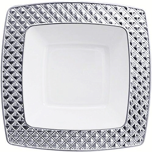 12oz Decor Diamond Collection White/Silver Clear/Silver Soup Bowls - Item #2745