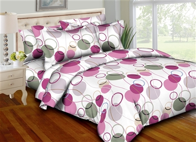 Better Bed Collection: Circle & Strings Pink 8PC Twin Bedding Set