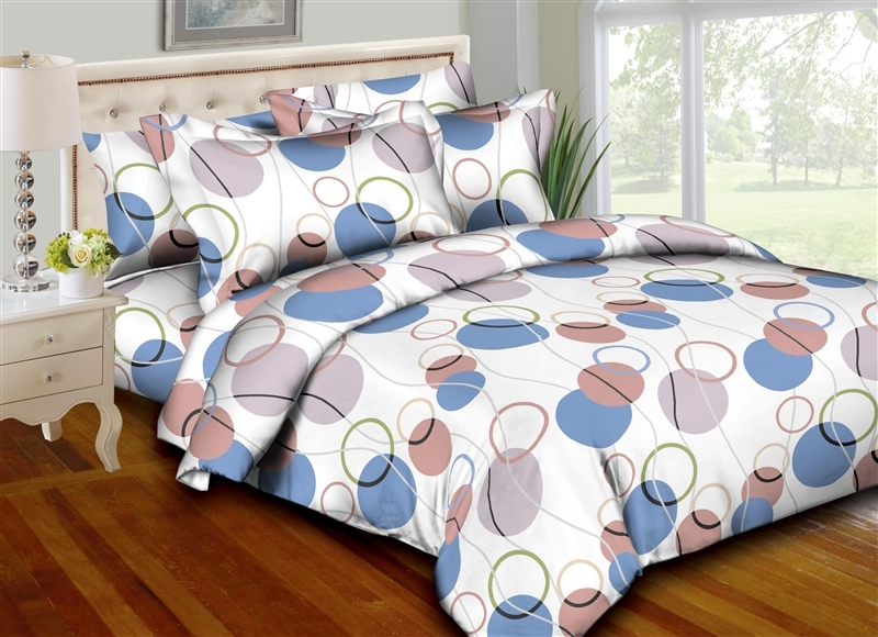 Better Bed Collection: Circle & Strings Blue 8PC Twin Bedding Set