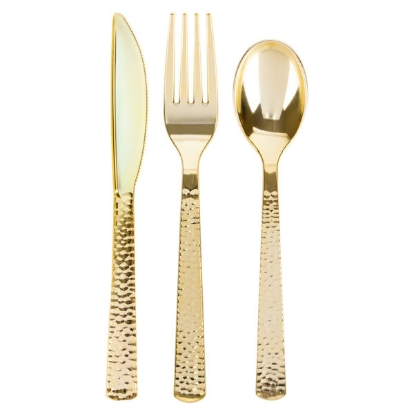 Gold Settings Pebbled Cutlery Combo 32 ct