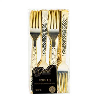 Gold Settings Pebbled  Forks 32 ct