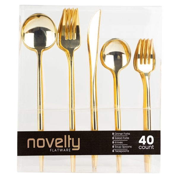 Novelty Gold 40 Ct Flatware Combo Set