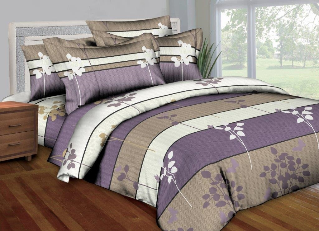 Better Bed Collection: Stripes and Stalks 8PC Twin Bedding Set