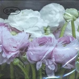 Pink and White Ranunculus Decorative Napkins - 20 ct