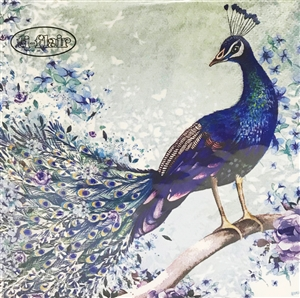 Peacock Sitting on Branch Napkins - 20 ct