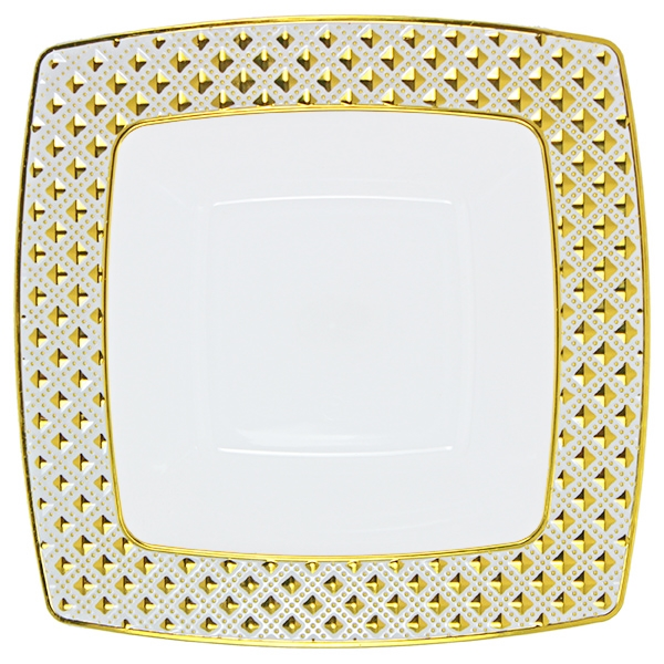 12oz Decor Diamond Gold Collection Soup Bowl - 10 Count