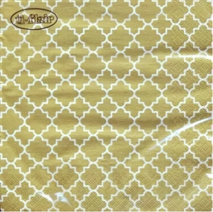Quattrefoil Lattice Gold Decorative Napkins - 20 ct