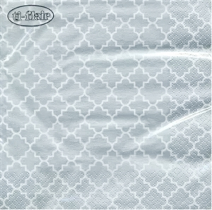 Quattrefoil Lattice Silver Decorative Napkins - 20 ct