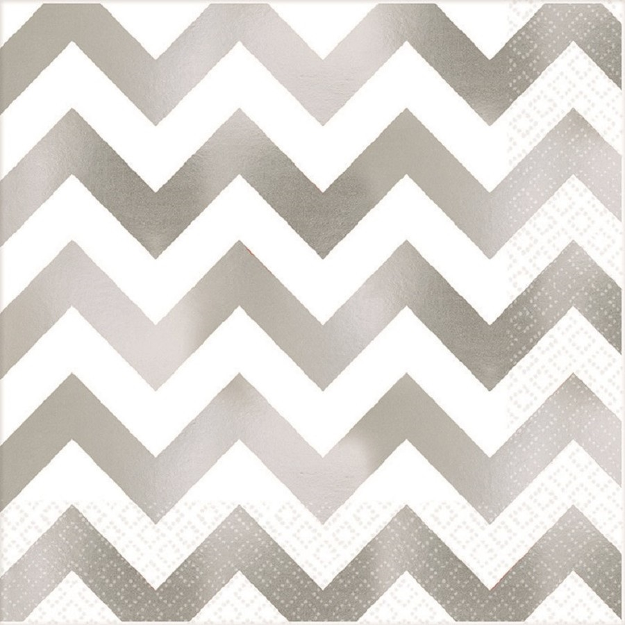 Chevron Silver-Napkin 20 Ct - Dinner Party & Holiday Napkins