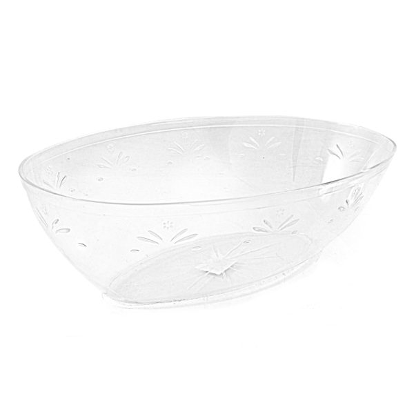 Large Oval Clear Plastic Serving Bowl With Engraved Floral Design.