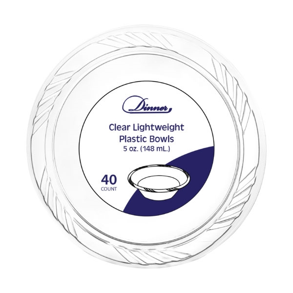 5oz Clear Plastic Bowls 40 Count - Durable Disposable Plates & Bowls