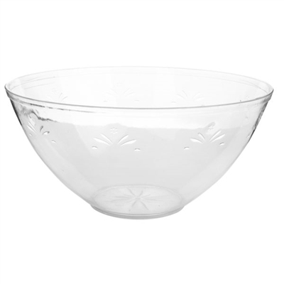 Large Round Plastic Serving Bowl With Engraved Floral Design.