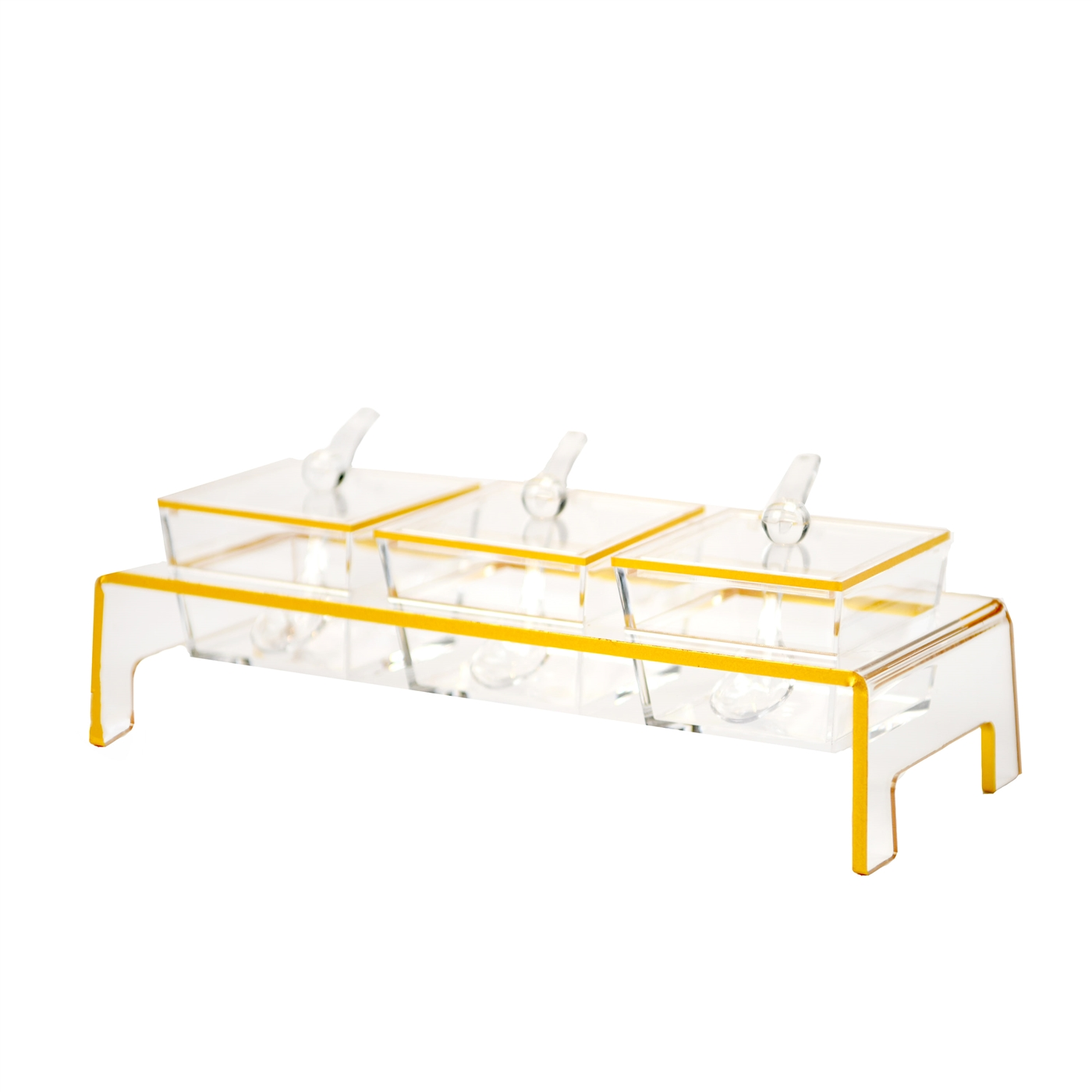 Lucite 10 pc Gold Trim Serving Tray with Spoons and Holder and Lid
