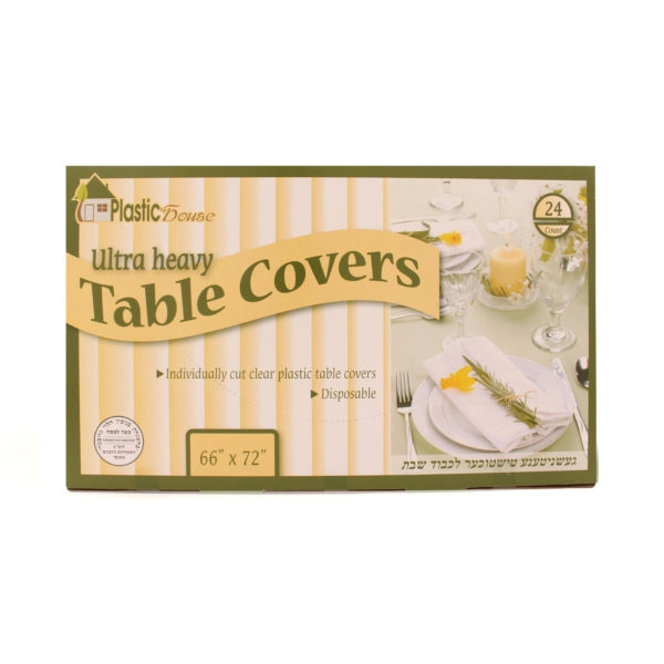 "Disposable Clear Plastic Table Covers 66"" x 72"""