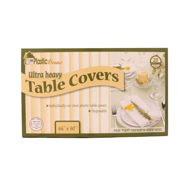 "Disposable Clear Plastic Table Covers 66"" x90"""