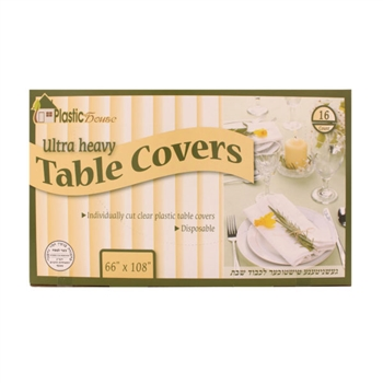 "Disposable Clear Plastic Table Covers 66"" x108"""