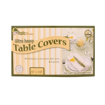 "Disposable Clear Plastic Table Covers 66"" x140"""