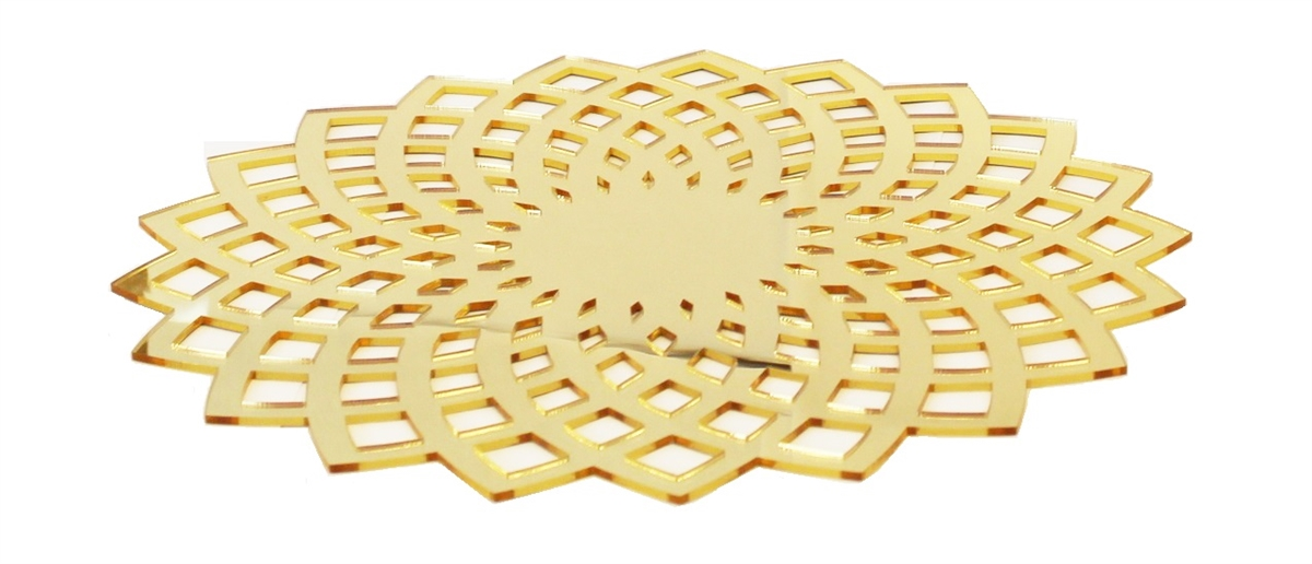 Acrylic Gold Flower Design Mirror Charger