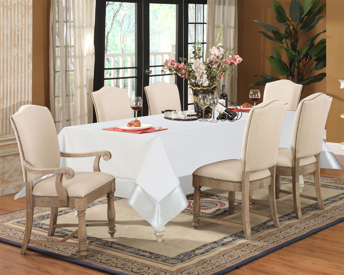 Bryce White and Silver Faux Leather Tablecloth