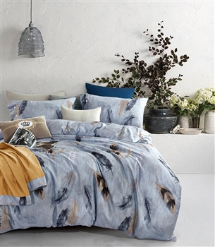 Enchanted Feather 8PC 100% Satin Cotton Bedding Set