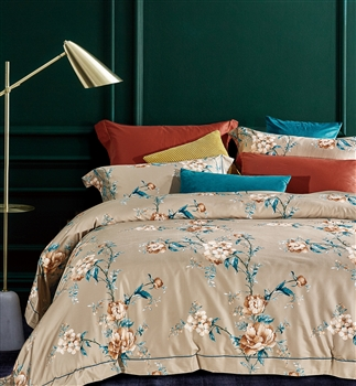 Floral Blossom  8PC 100% Satin Cotton Bedding Set