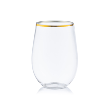 Decor Stemless 12oz  Wine Goblet Gold Rim