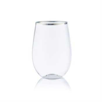 Decor Stemless 12oz  Wine Goblet Silver Rim