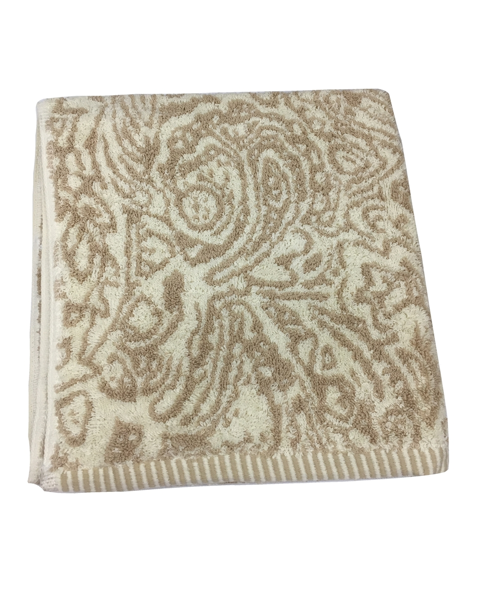Paisley 100% Cotton Hand Towel in Taupe Ivory and Gold