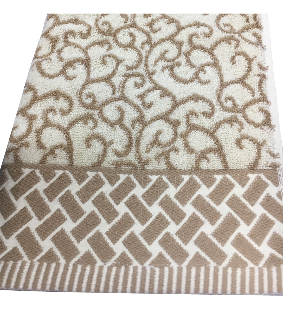 Swivel 100% Cotton Hand Towel in Taupe Ivory and Gold