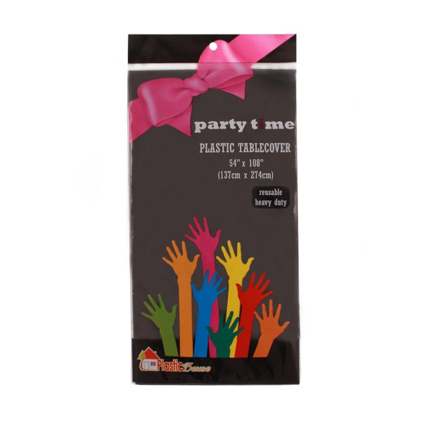 Party Time Plastic Table Cover in Black