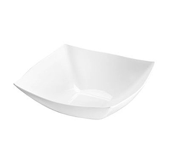Fancy Square White Plastic Serving Bowls - 8oz - 4 per Pack, modern disposable bowls for parties