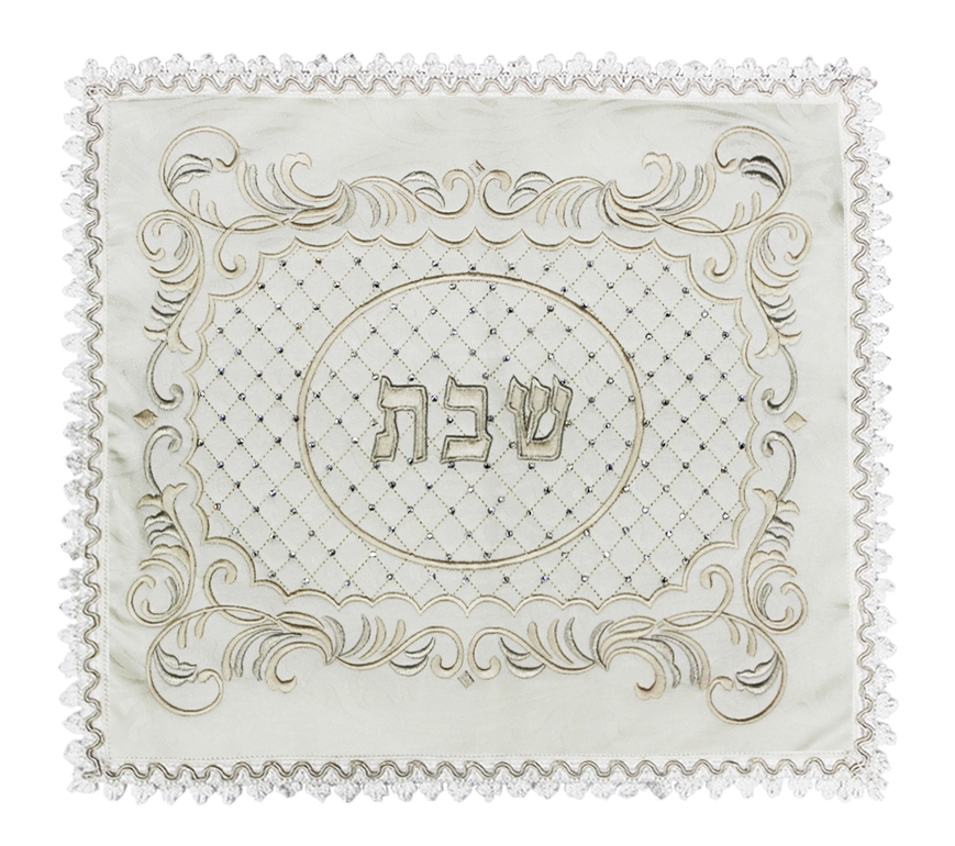 Large Off-White Jacquard 01j Challah Cover #9317 - Judaica Shop Online