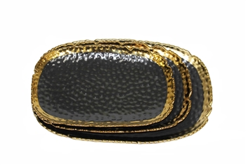 Black Ceramic Platter with Gold Edge