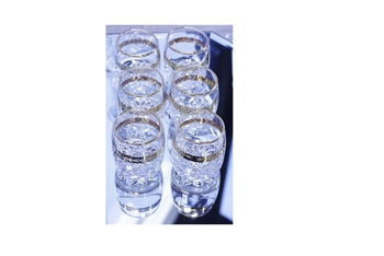 Classic Crystal Shot Glass Set of Six w/Gold Accents