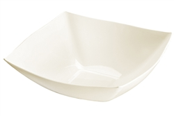 Fancy Square Ivory Plastic Serving Bowl - 128 oz