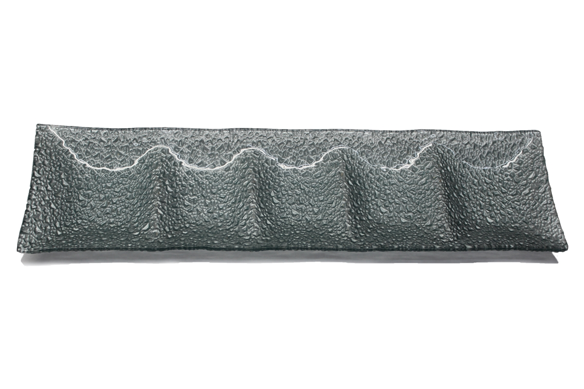 Silver Pebbled Glass Tray- XLarge