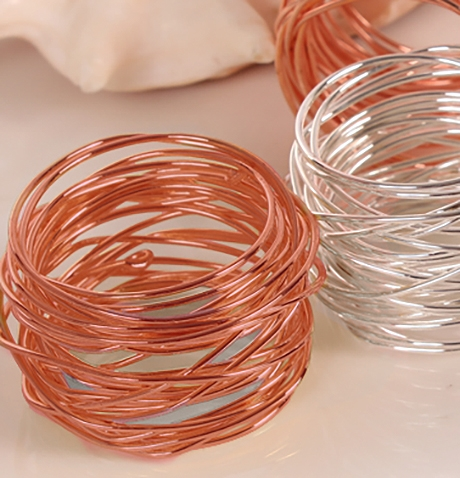 Rose Gold Wrapped Cuff Napkin Ring Set (4) - Dinner Party Accents