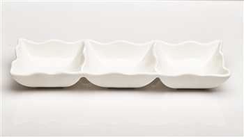 White 3 Square Wavy Section Ceramic Dish
