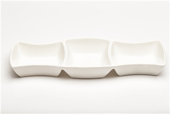 White 3 Section Ceramic Dish