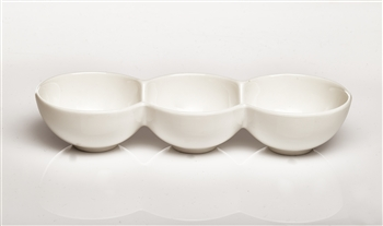 White Round 3 Section Ceramic Dish