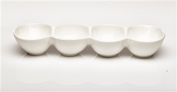 White 4 Oval Section Ceramic Dish