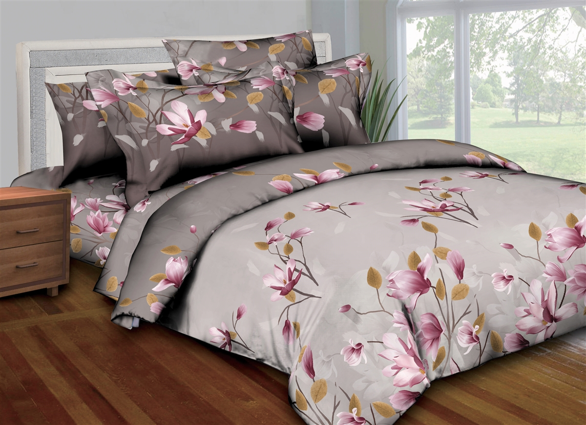 Better Bed Collection: Mauve Flowers 8PC Bedding Sets - 300 Thread Count