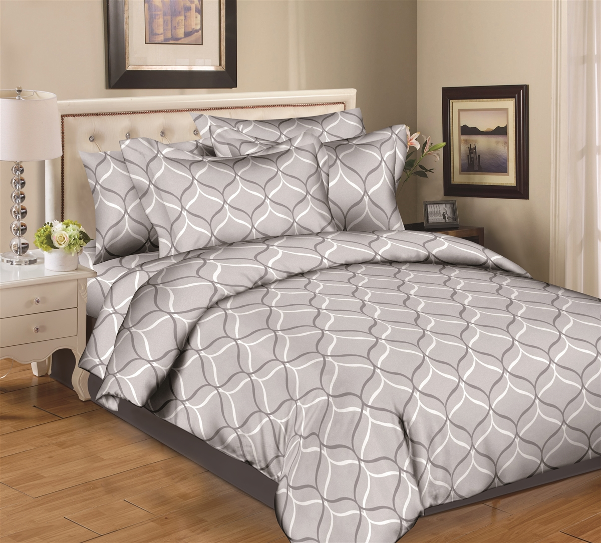 Better Bed Collection: Gray Sandwatch 8PC Twin Bedding Set