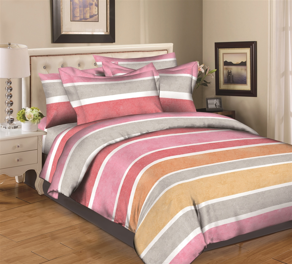 Better Bed Collection: Multi Stripes Pink 8PC Twin Bedding Set
